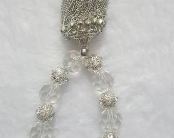 Tassel Bracelet, Clear Glass  Beaded Bracelet
