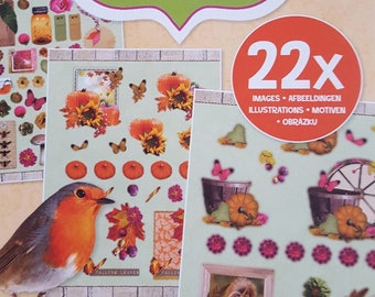 A block of 12 sheets of scrapbooking die cuts nature theme