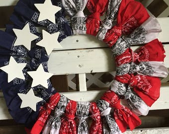 Red, White and Blue Patriotic Bandana Wreath