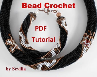 "Bead Crochet rope pattern necklace and bracelet ""Giraffe"" Instant Download"