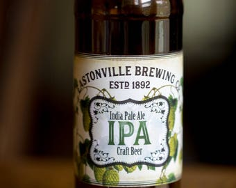Customized Beer Label - IPA - Vintage Design with Hops - Custom Homebrew Label for Your Homemade Craft Beer
