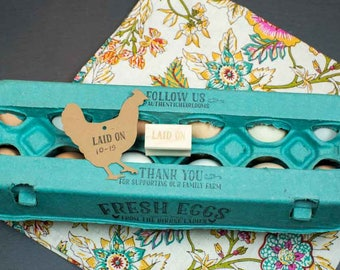 Laid On Mini Stamp for Egg Cartons and Hangtags - 1 inch x 1/2 inch - Chicken keeper gift