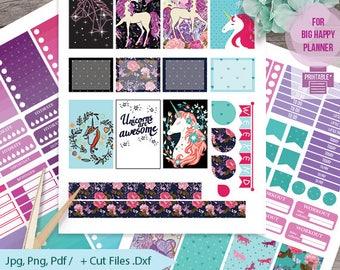 Unicorn printable planner stickers, BIG MAMBI Happy planner, Monthly / Weekly Kit ,Printable Sampler, Unicorn big happy Instant download