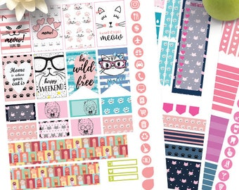 Cats planner stickers Printable,HAPPY PLANNER STICKERS,Weekly Kit,Happy planner Kit,Instant download,Cats and paw printable Planner Stickers