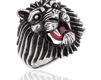 High Quality 925 Sterling Silver Lion Head  Men's Ring With Red Cubic Zirconia Stone