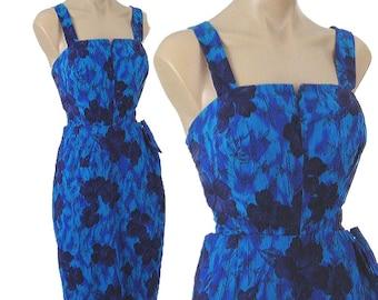 60s Blue Tropical Sarong Dress-1960s Floral Print Sundress-Pinup-Rockabilly-Tiki-Summer Dress-Resort-Hawaiian Flower-Made in Miami-Med-M