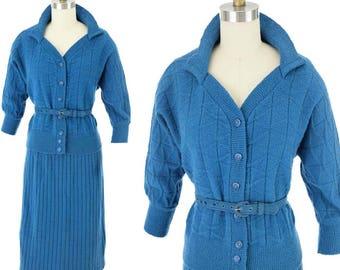 50s Teal Blue Skirt Sweater Set-XL