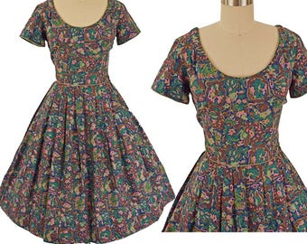 60s Abstract Floral Full Skirt Midi Dress-M
