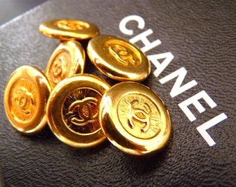 """CHANEL Buttons, Authentic Vintage, Rare, Gold CC Logo, Sz 0,55"""" 1,4 cm, Chanel Ring, Chanel Earrings, Chanel Jewelry, Price for 1 Button"""
