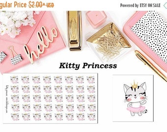 40% Off Sale Kitty Princess//Planner Character Stickers//EC//HP