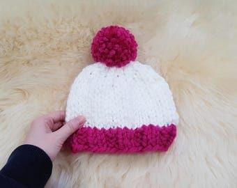 Chunky Pom Pom Baby hat in White and Fuchsia | Baby knit hat | Chunky Pom Pom hat | Winter knit beanie | Pom Pom hat
