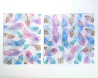 Colourful Feathers Translucent Watercolour Envelope Set, Letter Envelopes - LT026