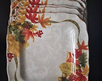 222 Fifth Autumn Celebration Square Salad Plate Set Of 8