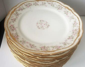 Theodore Haviland Limoges Double Gold Schleiger B&B Plate Set Of 12