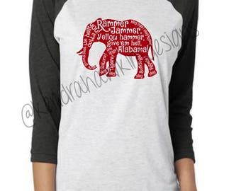 Rammer Jammer ELEPHANT Raglan | Football Shirt | Alabama Shirt | Roll Tide Shirt