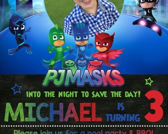 PJ Masks Birthday Party Invitation with Photo! Catboy, Owlet & Gekko! Digital File, Print at Home