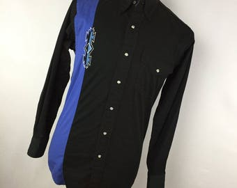 Vintage MWG Shirt S Small Pearl Snap Front Black Blue Embroidered Western Cowboy Rodeo Long Sleeve A2