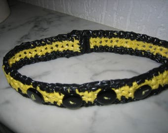 Upcycled ' Choker, yellow/black crochet necklace with recycled plastic bags
