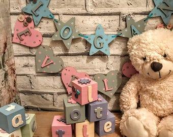 Personalised nursery baby blocks Nursery decor Nursery art Baby gift Baby shower Baby girl Baby boy Personalised baby gift Personalized baby
