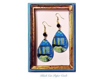 VINCENT VAN GOGH Starry Night on the Rhone wood earrings Handmade decoupage