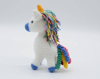 Rainbow unicorn, blue pony gift, crochet horse, plush toy, small unicorn, stuffed gift