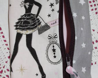 Paris in pink and gray stars pouch / sequins/lace