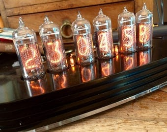 Nixie Tube Clock with mid sized tubes fully programmable RVB LEDs