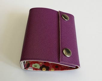 Recycled - Card holder recycled linoleum Eggplant