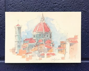 Italy Art Print, Florence, Italy Watercolor, art, watercolor architecture, illustrations, Italy art, Florence art, painting