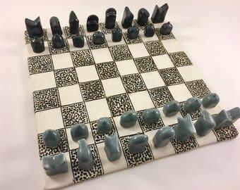 MADE TO ORDER - Ceramic handmade chess set, hand made chess pieces, chess board, porcelain chess set