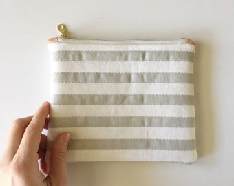 Striped Quilted Zipper Pouch