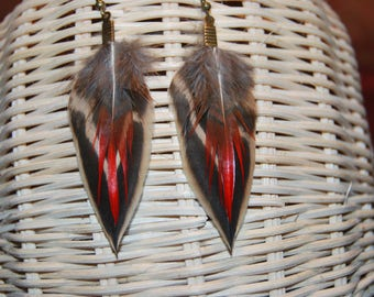 A pair of natural feathers of duck/pheasant-Brown/grey/red/bronze earrings-