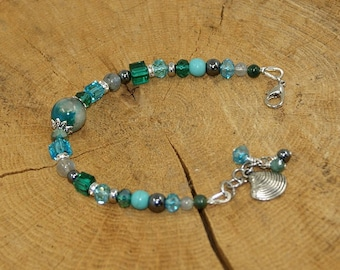 Bracelet gemstones and Crystal, blue and green