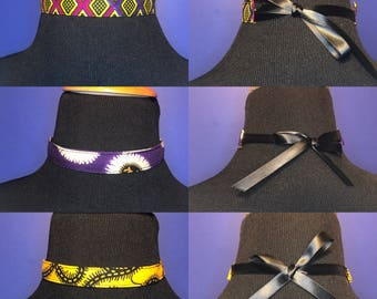 African Print Choker // Cotton Choker Necklace // Ribbon Closure Choker