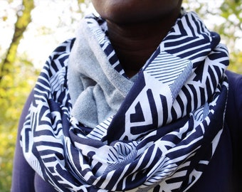 African Print and Plaid Infinity Scarf // Navy and White Circle Scarf // Flannel Scarf // African Wax Print Scarf