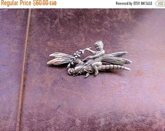ON SALE Vintage Sterling Silver Cherub on Dragonfly Brooch ONHOLD