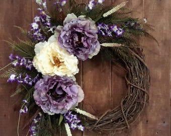 Spring Wreath, Peony Wreath, Housewarming Wreath, Mother's Day Gift, Birthday Gift, Everyday Wreath