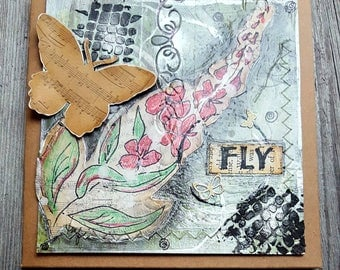 Greeting Card Mixed Media Fireweed Original Art Handcrafted