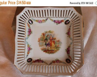 """Summer Sun Sale Vintage German Porcelain Reticulated 6.25"""" Square Bowl with Colonial Courting Couple and Floral Swags"""