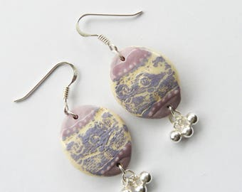"Earrings ceramic and Silver 925 hand made, ""Scrolls"", OOAK"