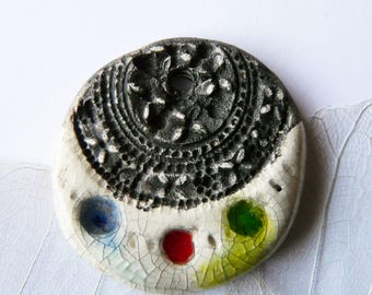 Raku and interleave for creation, unique handcrafted stained glass pendant