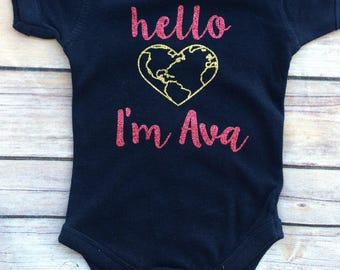 Hello world - newborn outfit - coming home outfit - hello world bodysuit - welcome home baby