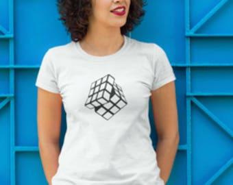 Rubiks Cube Print T-Shirt, T-Shirt With Rubiks Cube Print, Rubiks Cube Print,Rubiks Cube Logo Printed T-Shirt, Rubiks Cube T-Shirt.