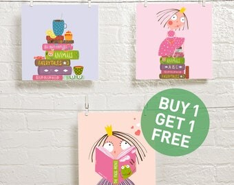reading posters - reading nursery art - reading kids art - books printables - reading is fun wall decor - kids room prints - set of 3 prints