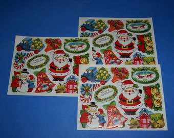 Vintage Christmas Stickers, Christmas Seals, 3 Sheets 1960's Vintage Christmas Stickers, Santa, Snowman, Kittens, Candy Cane