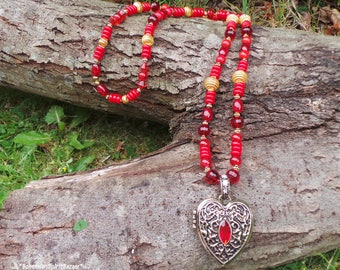 Long Necklace, Locket Necklace, Layering Necklace, Heart Necklace, Red Necklace, Bohemian Necklace, Gypsy Necklace, Locket Heart Necklace