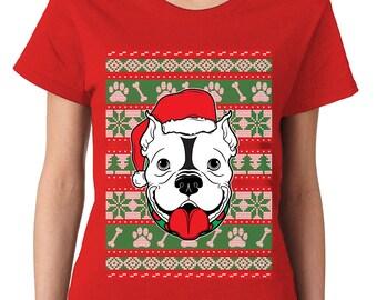 Christmas Pitbull Santa Hat Ugly Sweater Funny Gift Idea Present Holidays Womens T-Shirt OSF-0043