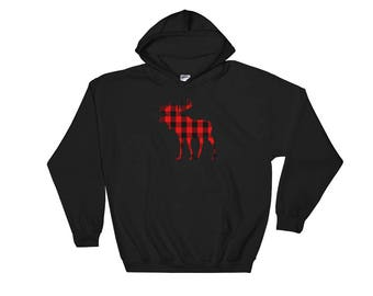 Moose Red Buffalo Plaid Hooded Sweatshirt
