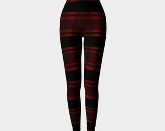 Christmas leggings - red plaid holiday leggings - yoga pants - adult leggings - woman's christmas leggings - christmas clothing
