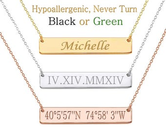 Custom Name Necklace Personalized Name Necklace Bar Necklace Name Bar Necklace Name Plate Necklace Initial Necklace Monogram Bridesmaid Gift